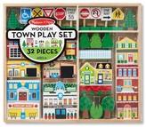 Melissa & Doug Wooden Town Play Set With Storage Tray (32 pcs)