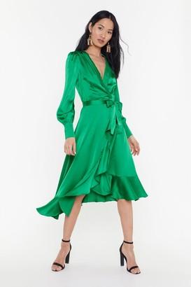 Nasty Gal Womens Dressed to Frill Ruffle Wrap Dress - Emerald