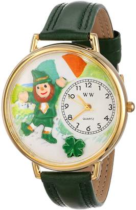 Whimsical Watches St. Patrick's Day with Irish Flag Hunter Green Leather and Goldtone Unisex Quartz Watch with White Dial Analogue Display and Multicolour Leather Strap G-1224001