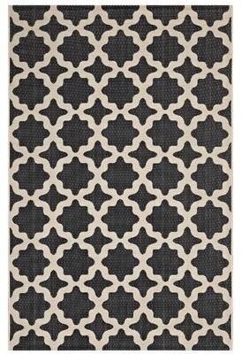 Charlton Home Hervey Bay Moroccan Trellis Black/Beige Indoor/Outdoor Area Rug Rug Size: Rectangle 5' x 8'