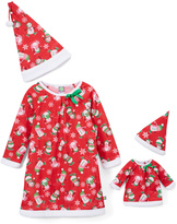 Dollie & Me Red & White Penguin Nightgown Set & Doll Outfit - Girls