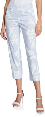 Piazza Sempione Audrey Stencil-Striped Capri Pants