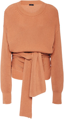 Joseph Cote Anglaise Tie-Detail Ribbed Wool Sweater