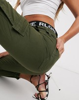 True Religion cropped cargo trousers with logo waist band in khaki