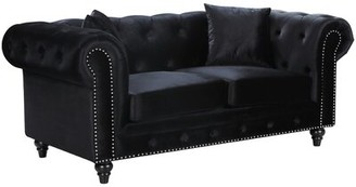 """Darby Home Co Kylan Chesterfield 71"""" Rolled Arm Sofa Fabric: Navy Linen Blend"""
