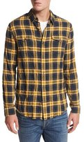 Vince Frayed-Edge Plaid Western Shirt, Blue/Yellow