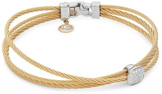Alor 18K White Gold, Yellow-Tone Stainless Steel & Diamond Cable Bracelet