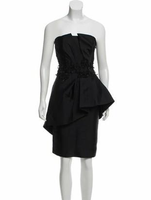 Alberta Ferretti Embellished Peplum Dress Black