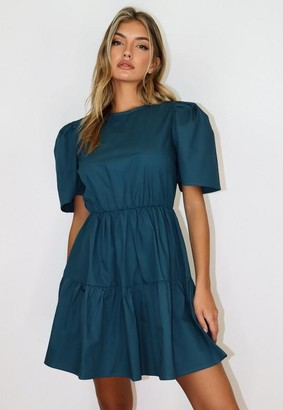 Missguided Teal Puff Sleeve Smock Dress