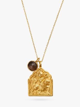 Goddess Charms Warrior Goddess with Smoky Quartz Power Stone Medium Chain Pendant Necklace, Gold/Brown