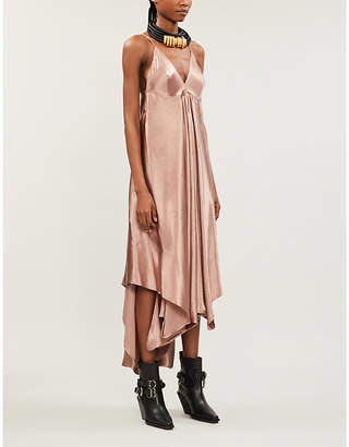 Ann Demeulemeester Handkerchief-hem satin midi dress
