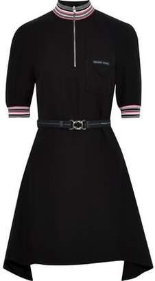 Prada Belted Draped Crepe De Chine Mini Dress