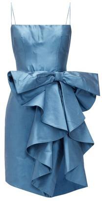 Rasario Waterfall-bow Silk Mini Dress - Blue