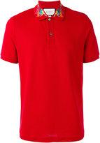 Gucci embroidered collar polo shirt - men - Cotton/Spandex/Elastane - 46