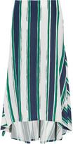 Chloé Asymmetric striped silk midi skirt