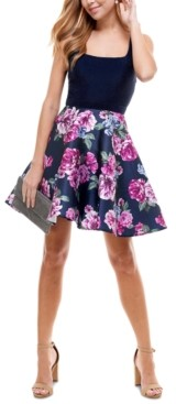 City Studios Juniors' Floral-Skirt Fit & Flare Dress