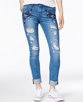 Rampage Juniors' Sophie Ripped Cuffed Skinny Ankle Jeans