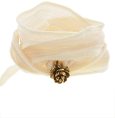 Catherine Michiels La Pivione Yellow Gold Charm & Silk Bracelet Wrap