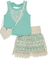 """Beautees Little Girls' """"Heartfelt Overlay"""" 2-Piece Outfit with Purse"""