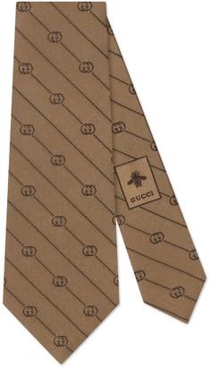 Gucci Interlocking G stripe silk tie