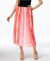 NY Collection Printed Crinkled Midi Skirt
