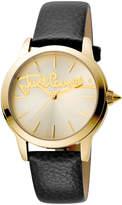 Just Cavalli 36mm Logo Watch w/ Leather Strap, Gold