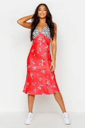 boohoo Tall Satin Mixed Floral Bias Cut Midi Dress