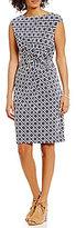Lauren Ralph Lauren Bateau Neck Cap Sleeve Twist-Front Sheath Dress