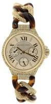 Michael Kors MK4290 Camille Gold Dial Multi-function Tortoise Womens Watch