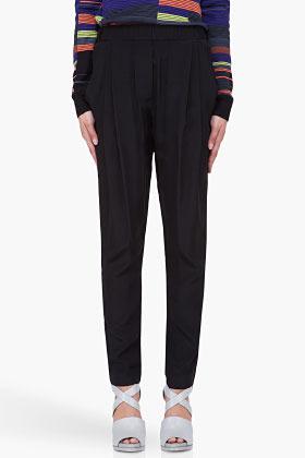 3.1 Phillip Lim Black Draped Silk Trousers