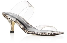 Marc Fisher Women's Guadia 2 Snake-Embossed Mid-Heel Sandals