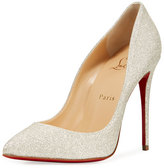 Christian Louboutin Pigalle Follies Glittered Red Sole Pump, White