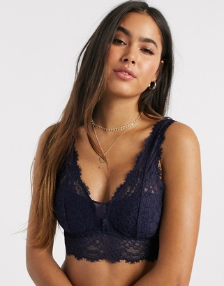 aerie romantic padded plunge bralette in navy