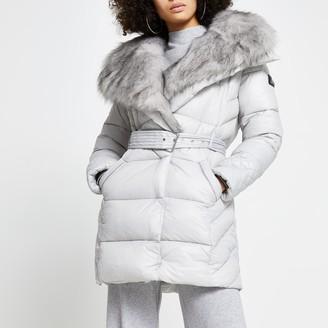 River Island Womens Grey faux fur padded longline coat