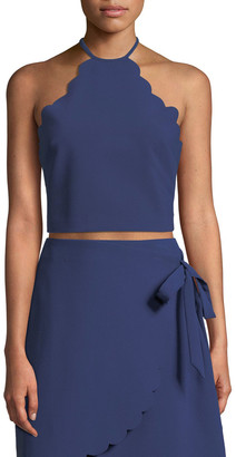 LIKELY Reeves Scalloped Halter-Neck Crop Top