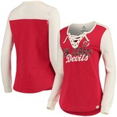 Women's Fanatics Branded Red/Cream New Jersey Devils True Classics Lace-Up Slub Long Sleeve T-Shirt