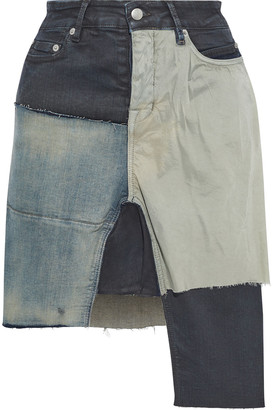 Rick Owens Asymmetric Shell-paneled Patchwork Denim Mini Skirt