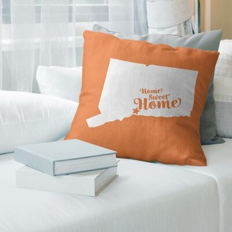 "East Urban Home Home Sweet New Haven Pillow East Urban Home Size: 14"" x 14"", Fill Material: Down Alternative, Color: Pink"