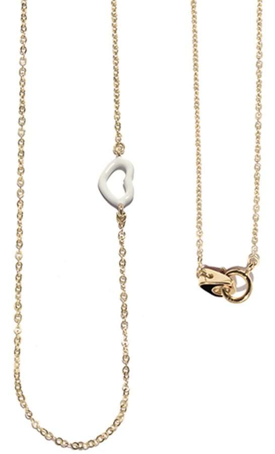Jordan Askill White Enamel Heart Necklace