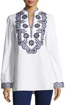 Tory Burch Long-Sleeve Richa Embroidered Tory Tunic