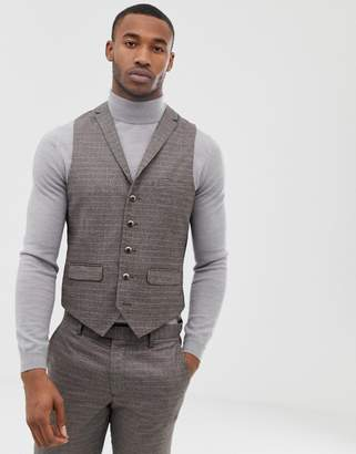 Harry Brown brown micro-check slim fit suit waistcoat