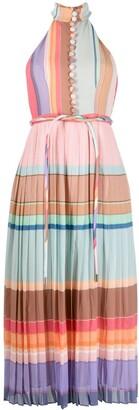 Zimmermann Rainbow Stripe Pleated Dress