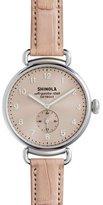 Shinola 38mm Canfield Alligator Strap Watch, Pink/Silver
