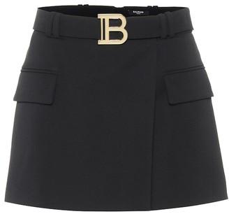 Balmain Wool-twill miniskirt