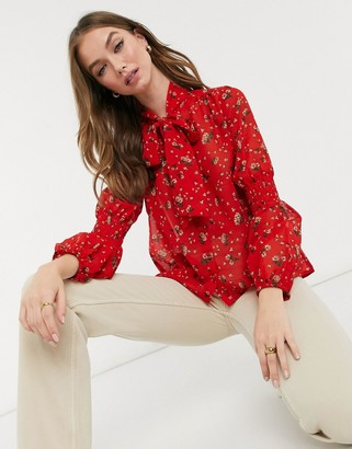 New Look tie neck blouse in red floral