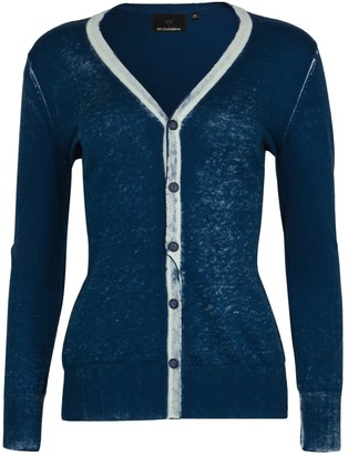Blue Cotton Hand Print Cardigan