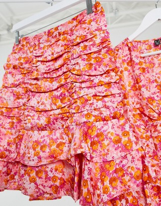 Vero Moda co-ord mini skirt with ruching and ruffles in pink floral
