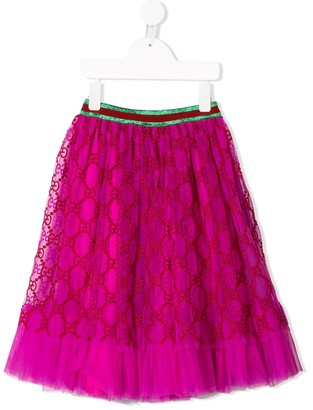 Gucci Kids Monogram Embroidered Tulle Skirt