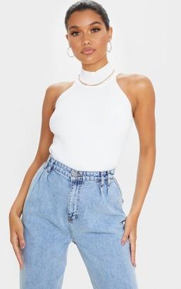 Mega White High Neck Knitted Sleeveless Top