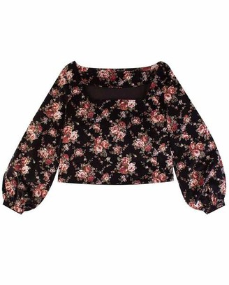 Meadows Marigold Top Black Floral - XS